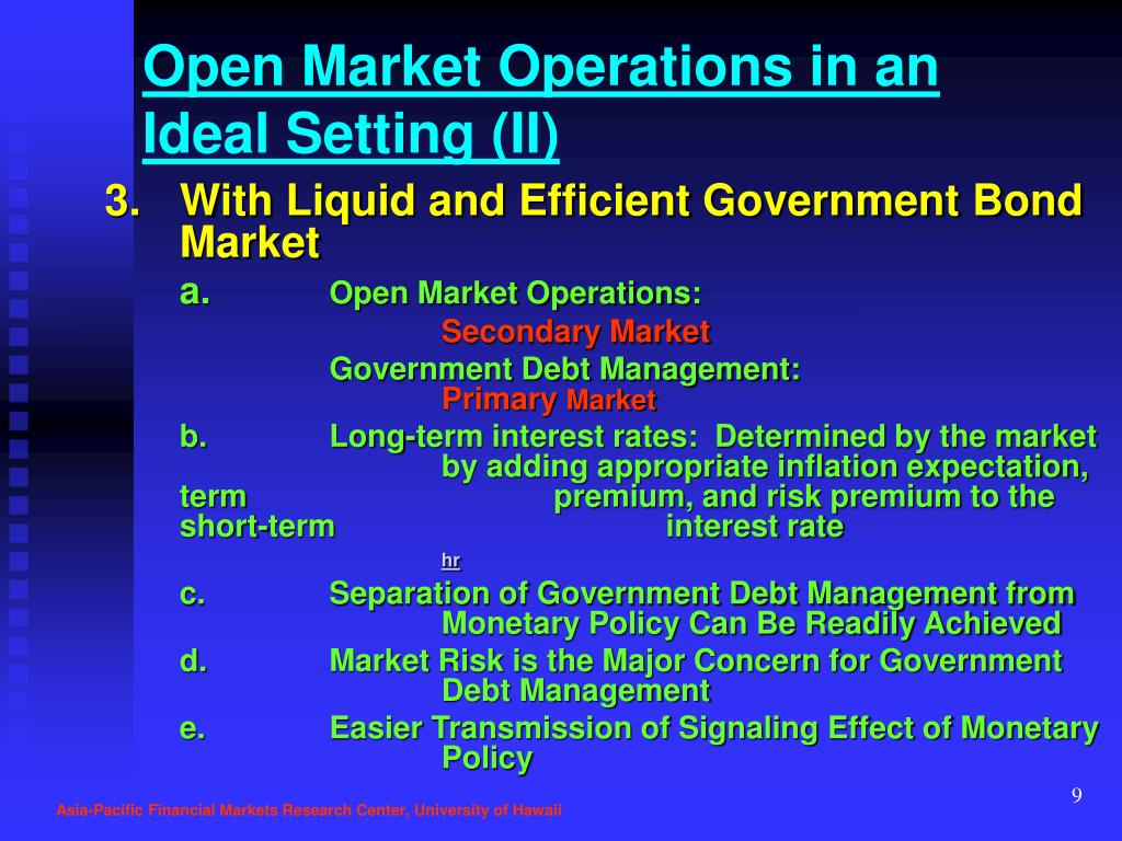 Open Market Operations in an Ideal Setting (II)