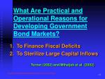 what are practical and operational reasons for developing government bond markets