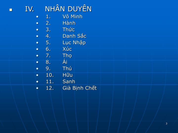 IV.NHÂN DUYÊN