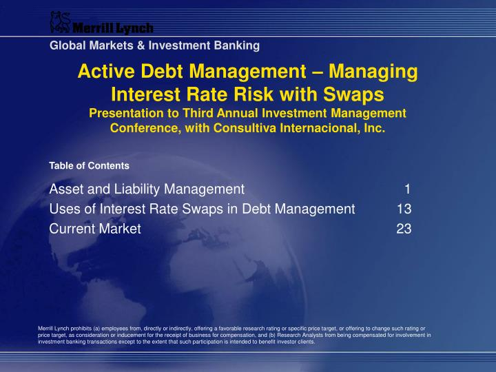 Active Debt Management – Managing Interest Rate Risk with Swaps