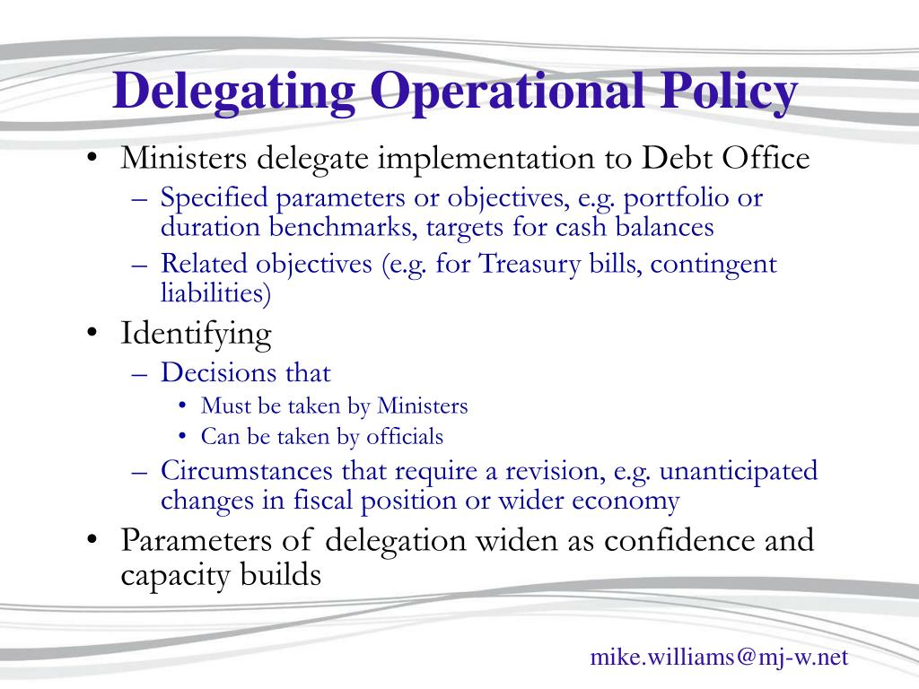 Delegating Operational Policy