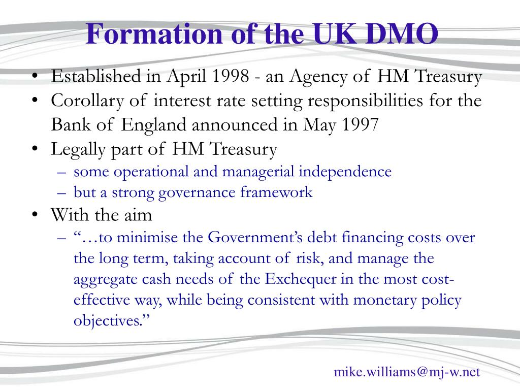 Formation of the UK DMO