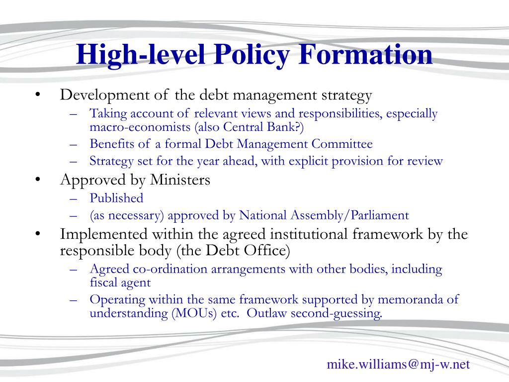 High-level Policy Formation