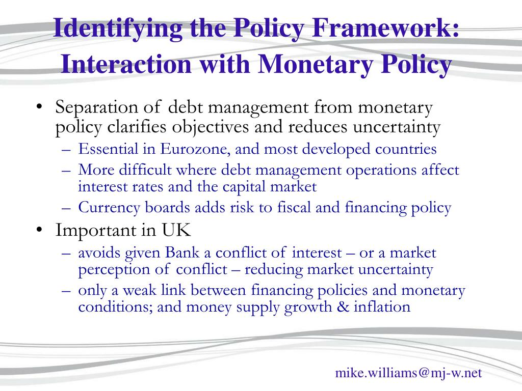 Identifying the Policy Framework: Interaction with Monetary Policy
