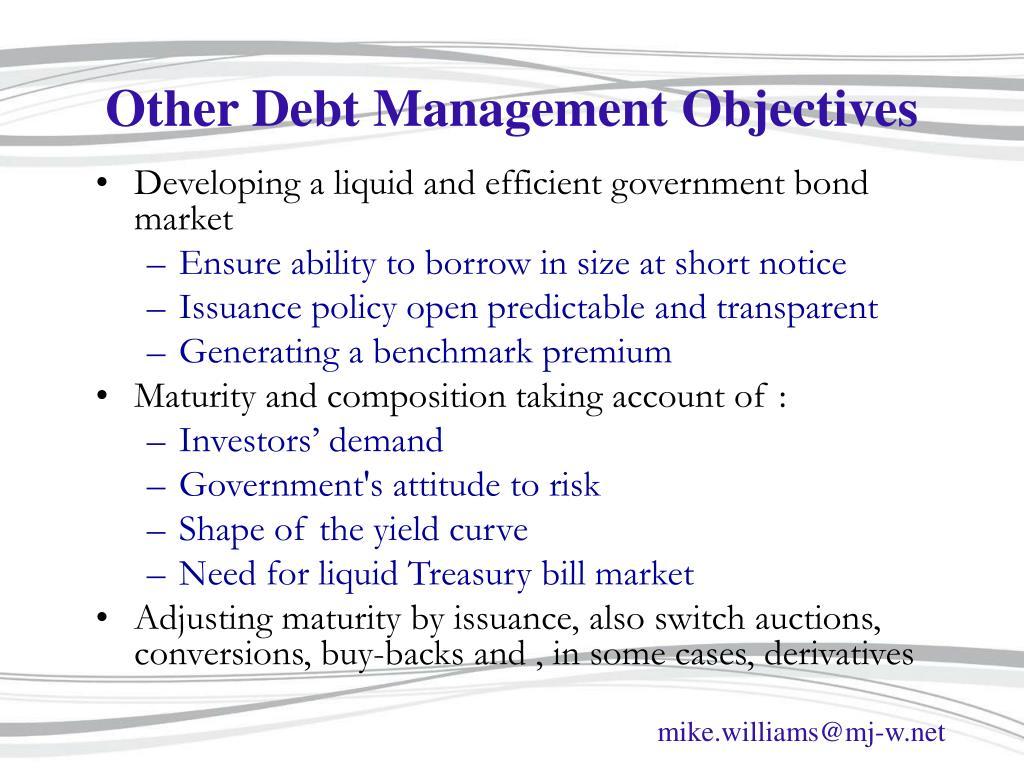 Other Debt Management Objectives