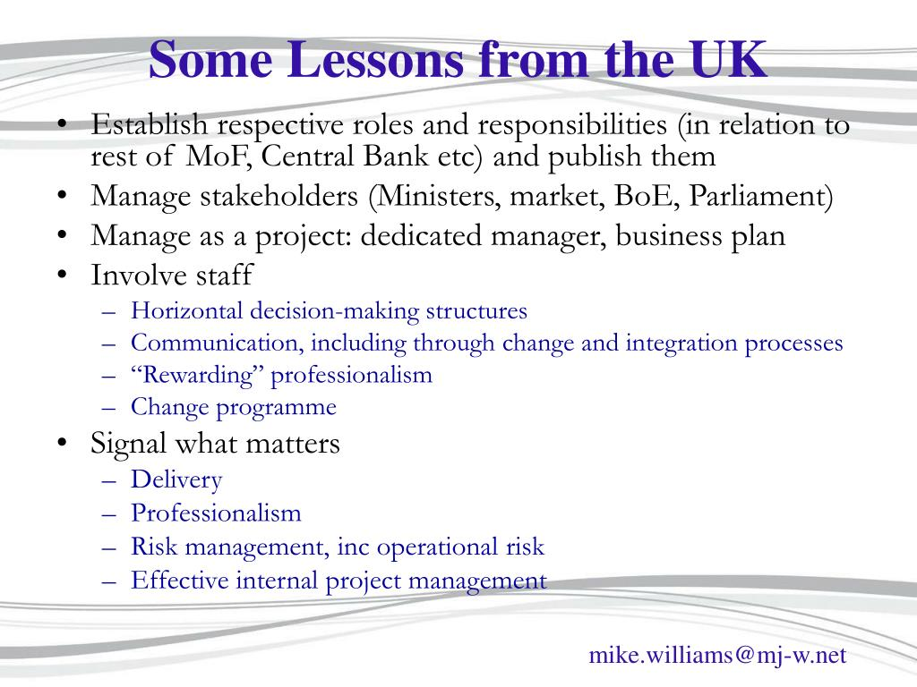 Some Lessons from the UK