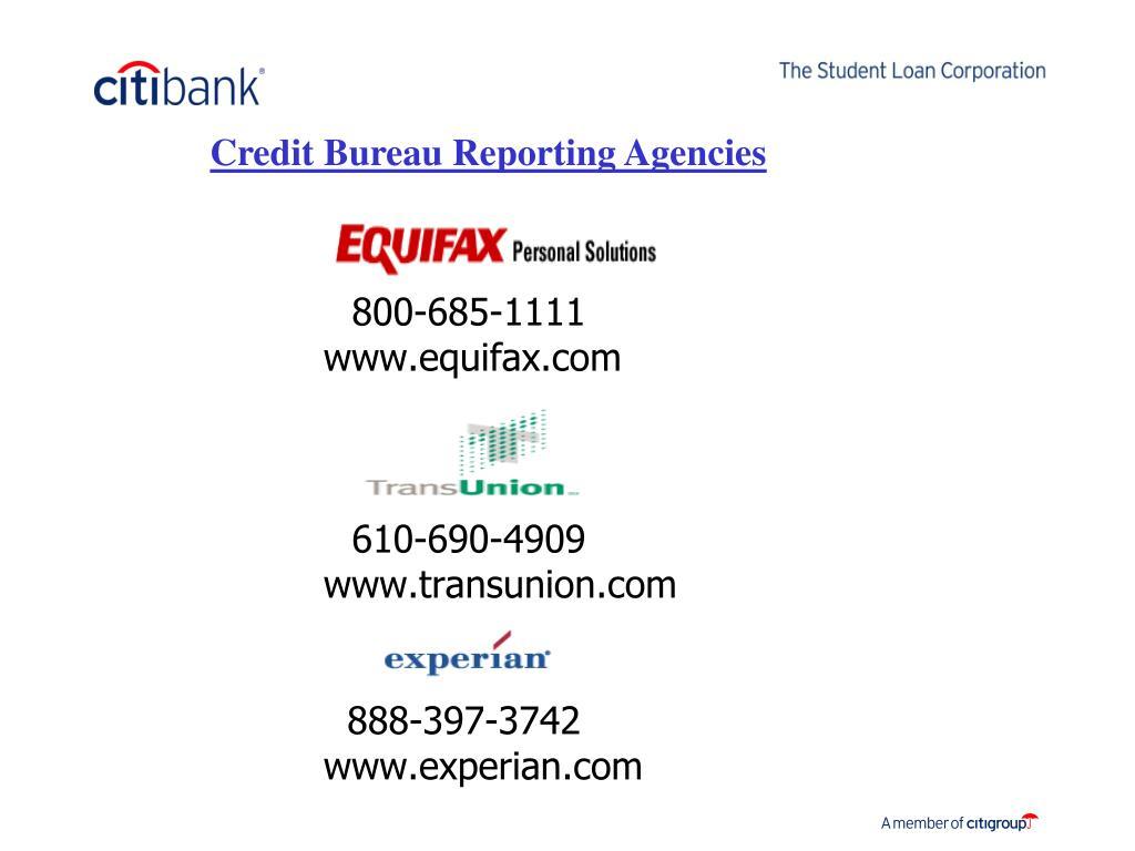 Credit Bureau Reporting Agencies