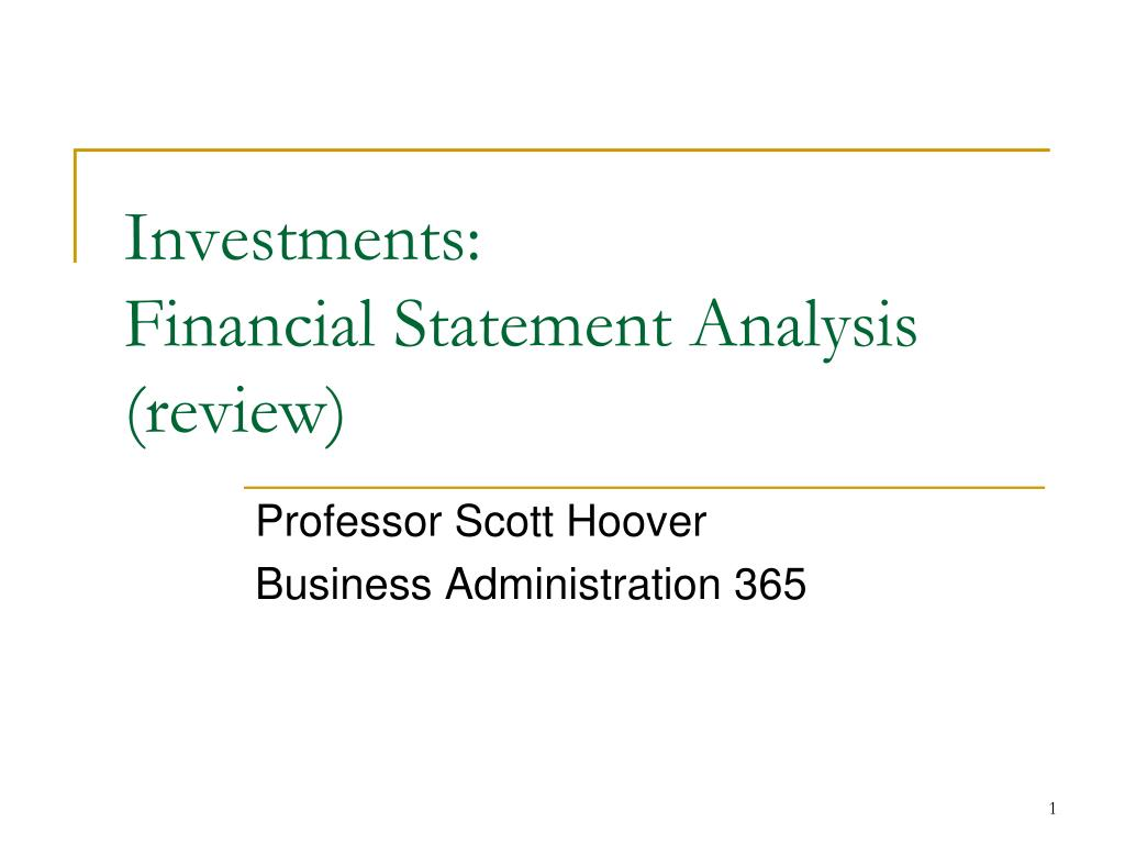 investments financial statement analysis review l.