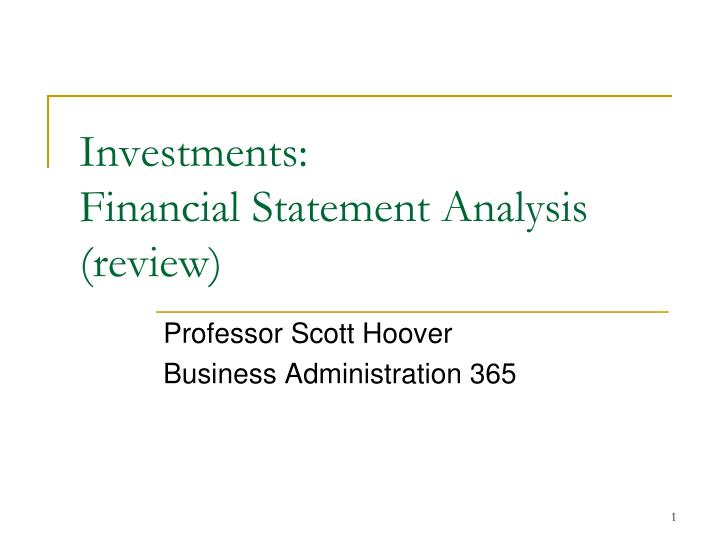 investments financial statement analysis review n.