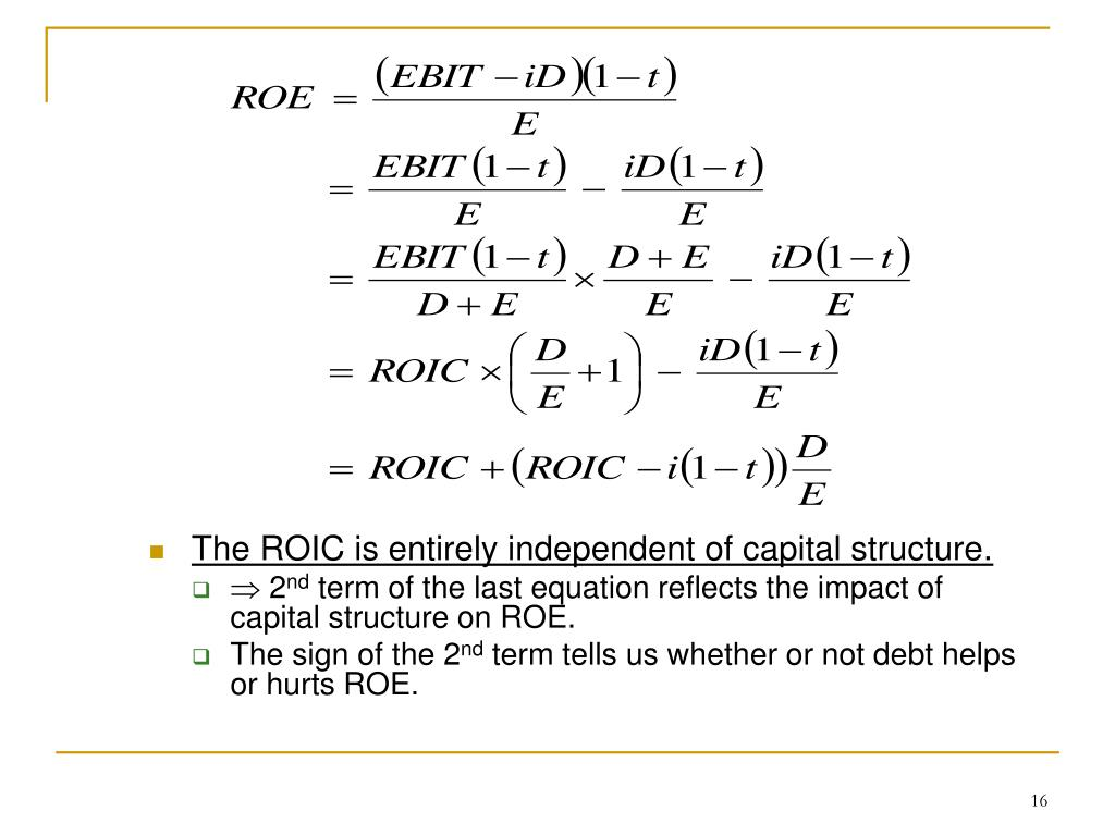 The ROIC is entirely independent of capital structure.