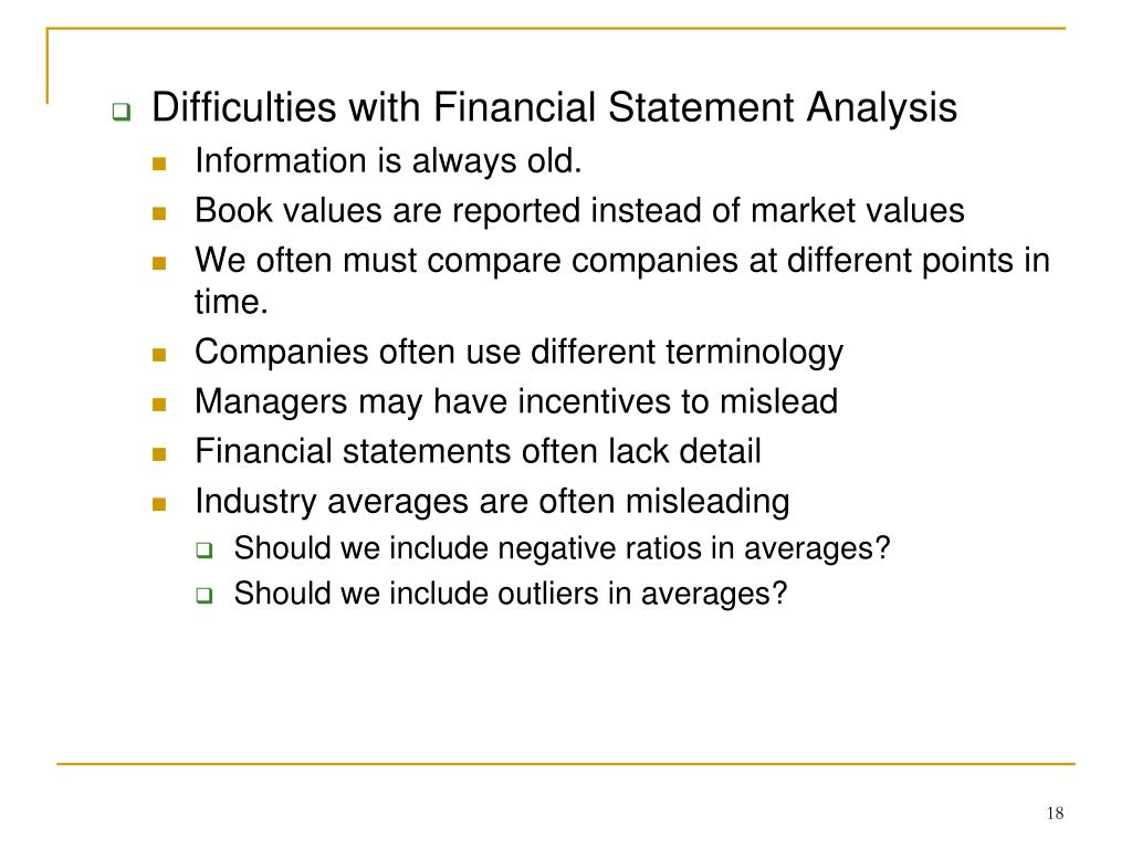 Difficulties with Financial Statement Analysis