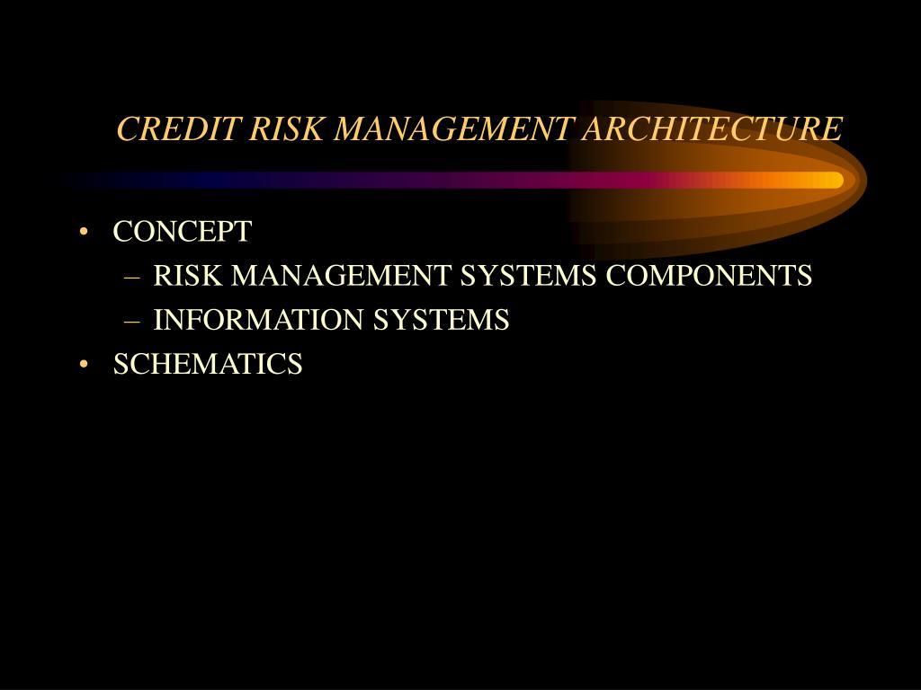 CREDIT RISK MANAGEMENT ARCHITECTURE