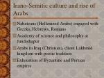 irano semitic culture and rise of arabs