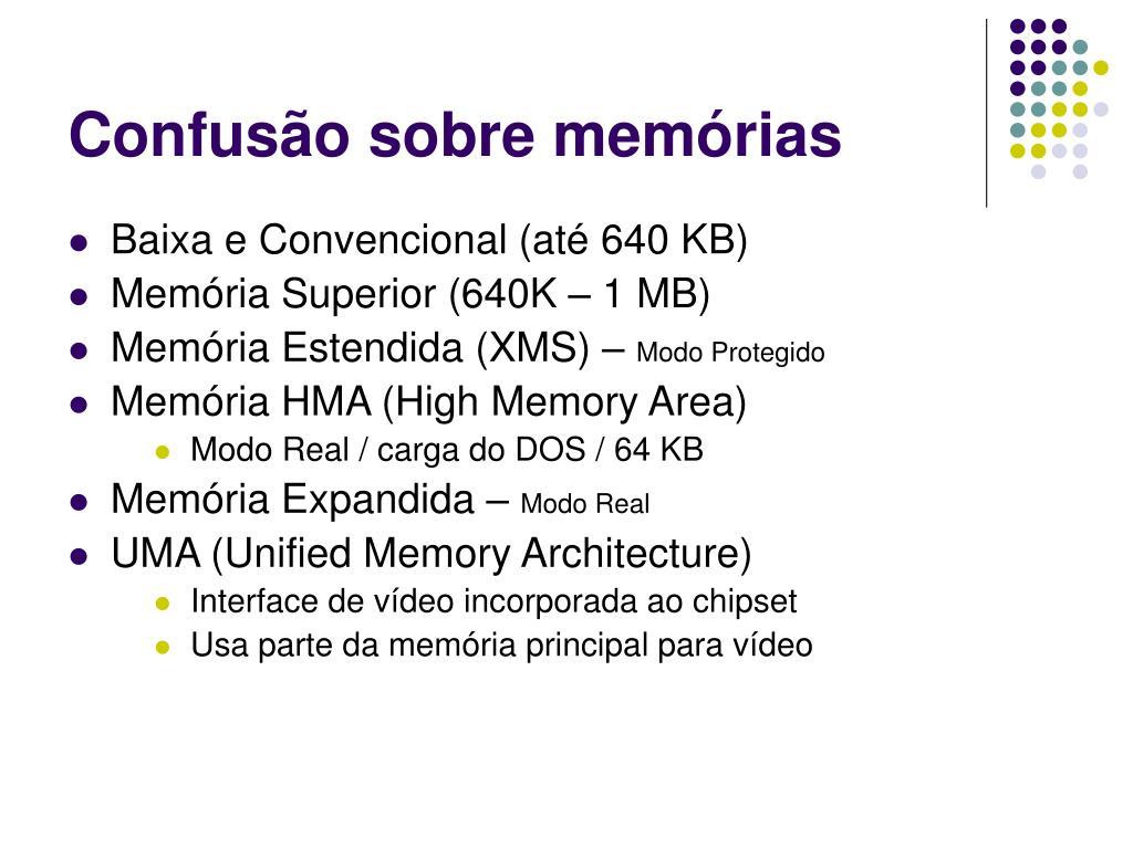 Confusão sobre memórias