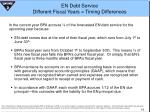 en debt service different fiscal years timing differences