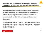 measures and experiences in managing the rural credit risk13