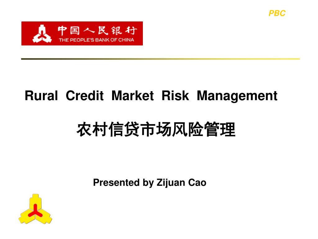 rural credit market risk management l.