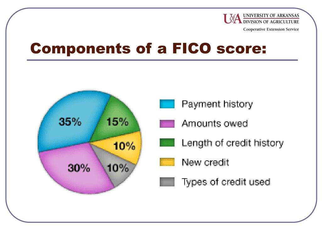 Components of a FICO score: