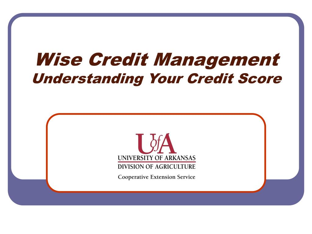 wise credit management understanding your credit score l.