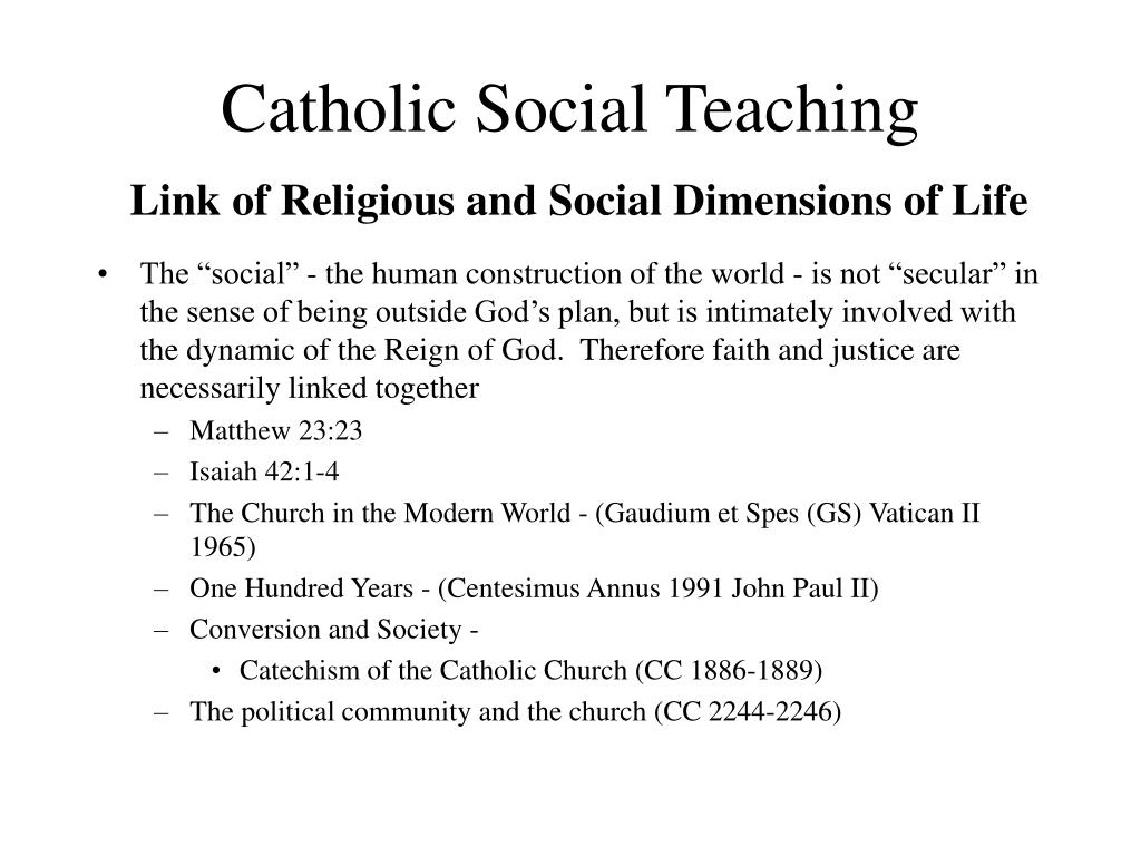 catholic social teaching link of religious and social dimensions of life l.