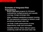 examples of integrated risk transactions