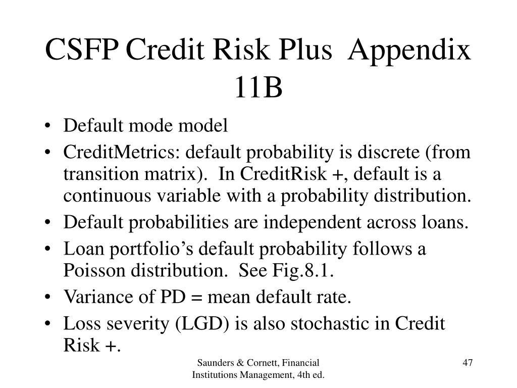 CSFP Credit Risk Plus  Appendix 11B