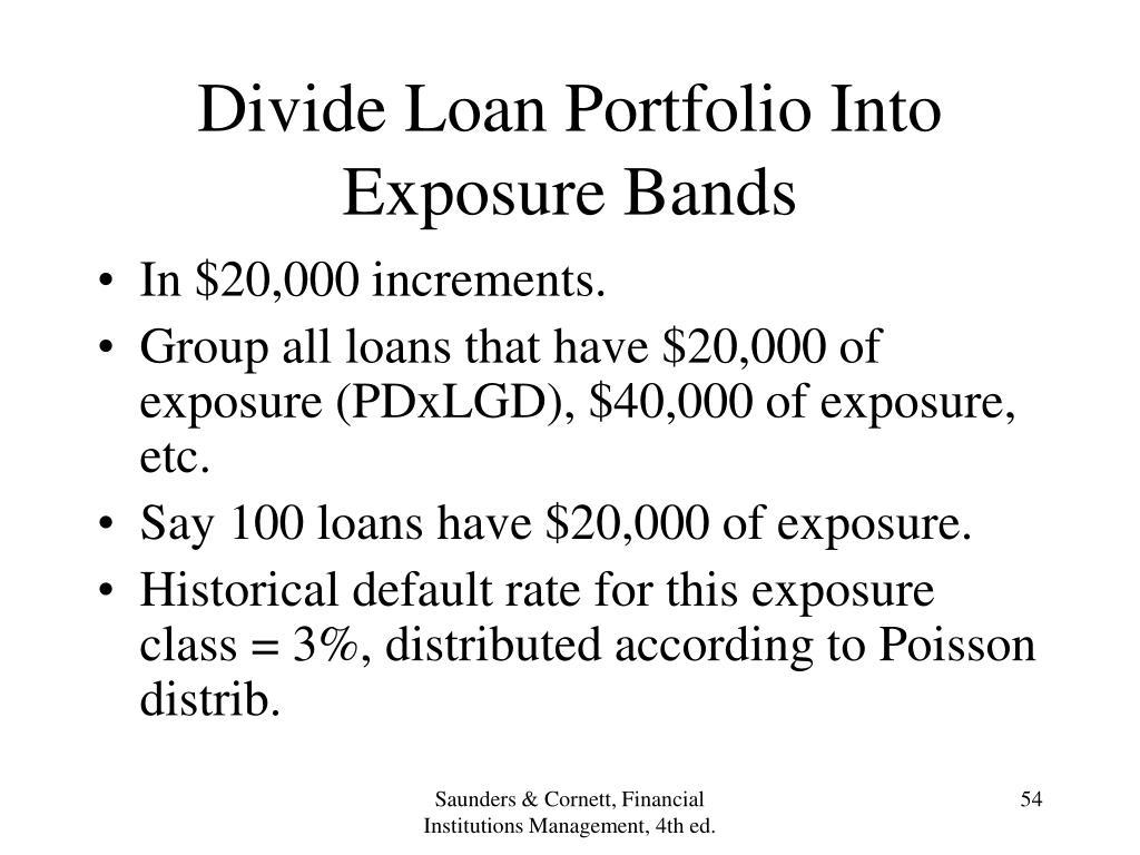 Divide Loan Portfolio Into Exposure Bands