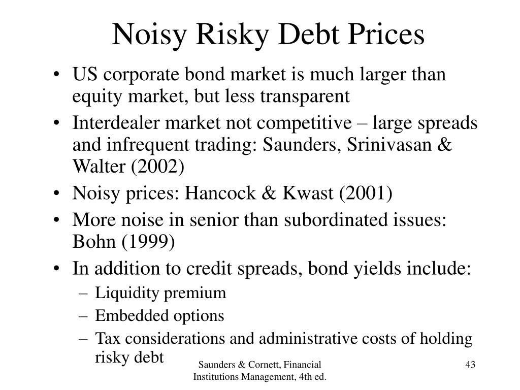 Noisy Risky Debt Prices