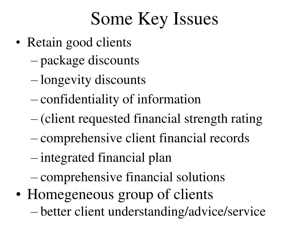 Some Key Issues