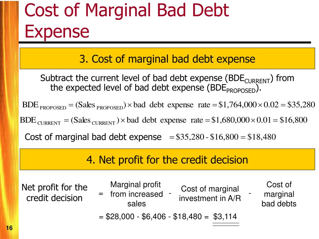 Cost of marginal bad debt expense