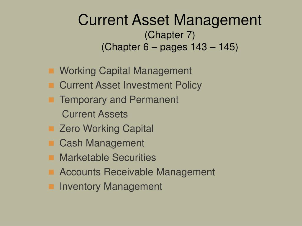 current asset management chapter 7 chapter 6 pages 143 145 l.