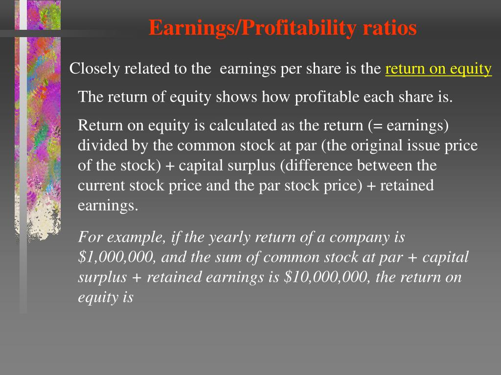 Earnings/Profitability ratios