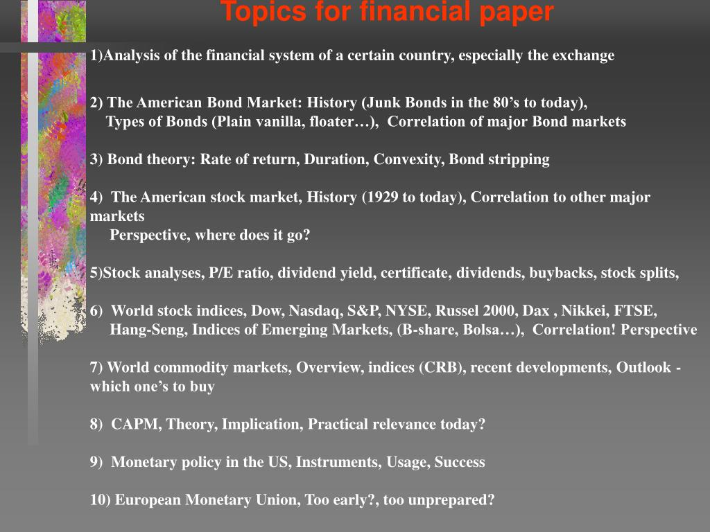 Topics for financial paper
