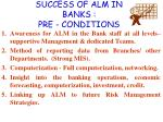 success of alm in banks pre conditions