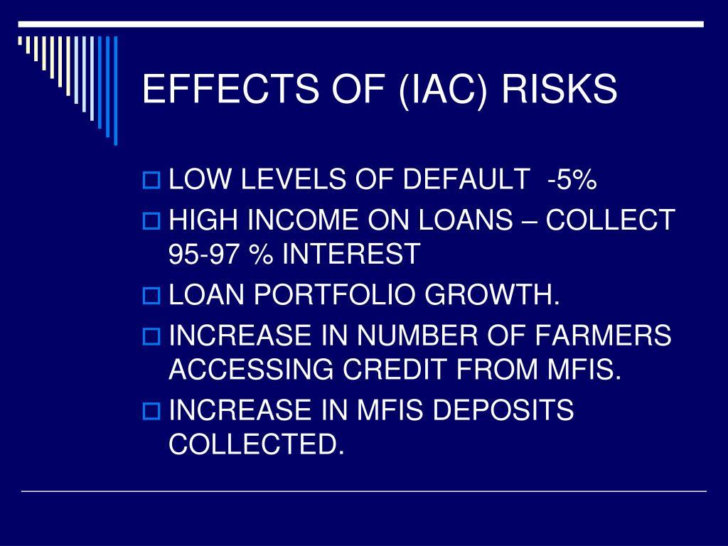 EFFECTS OF (IAC) RISKS