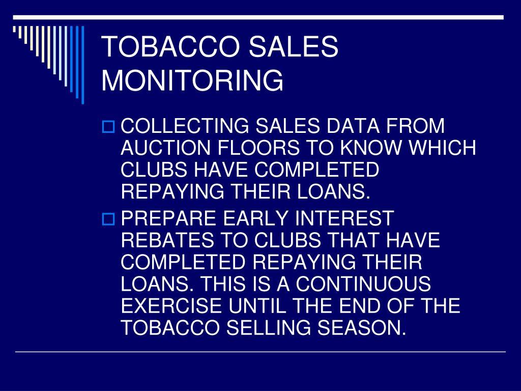 TOBACCO SALES MONITORING