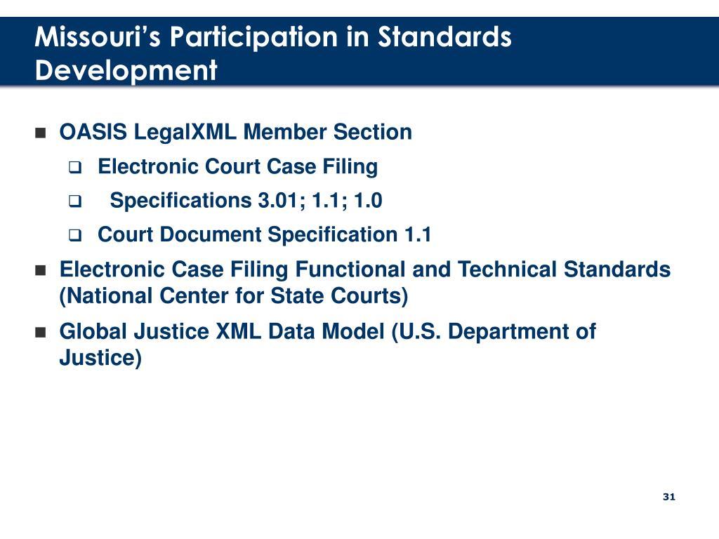 Missouri's Participation in Standards Development
