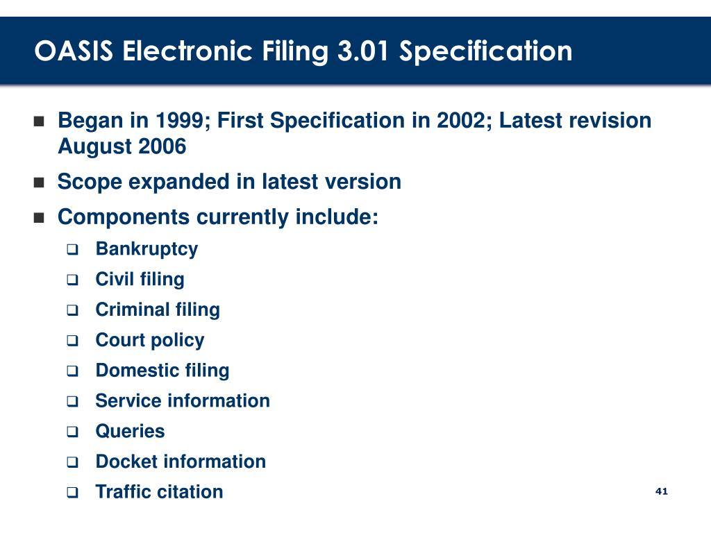 OASIS Electronic Filing 3.01 Specification