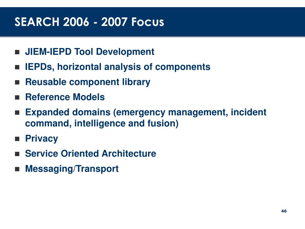 SEARCH 2006 - 2007 Focus