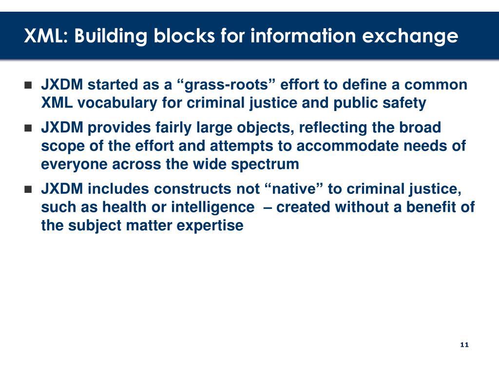 XML: Building blocks for information exchange