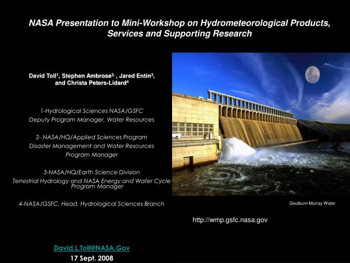 NASA Presentation to Mini-Workshop on Hydrometeorological Products, Services and Supporting Research