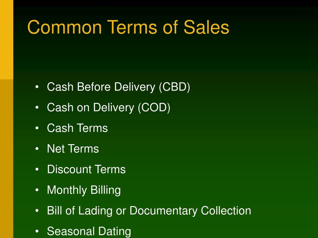 Common Terms of Sales