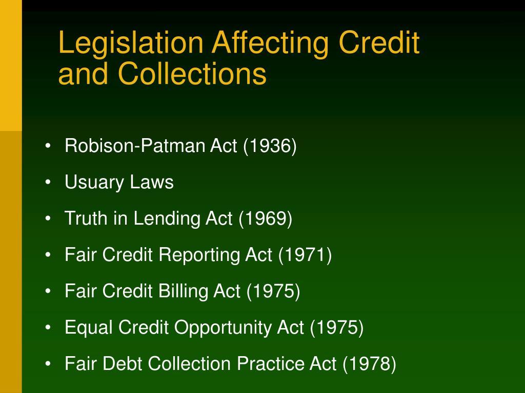 Legislation Affecting Credit