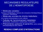 mecanismes regulateurs de l hematopoiese