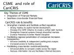csme and role of caricris