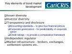 key elements of bond market development