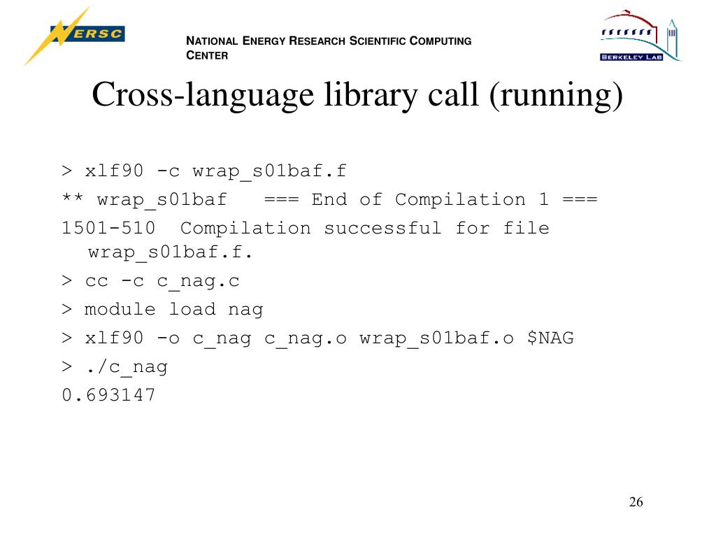 Cross-language library call (running)