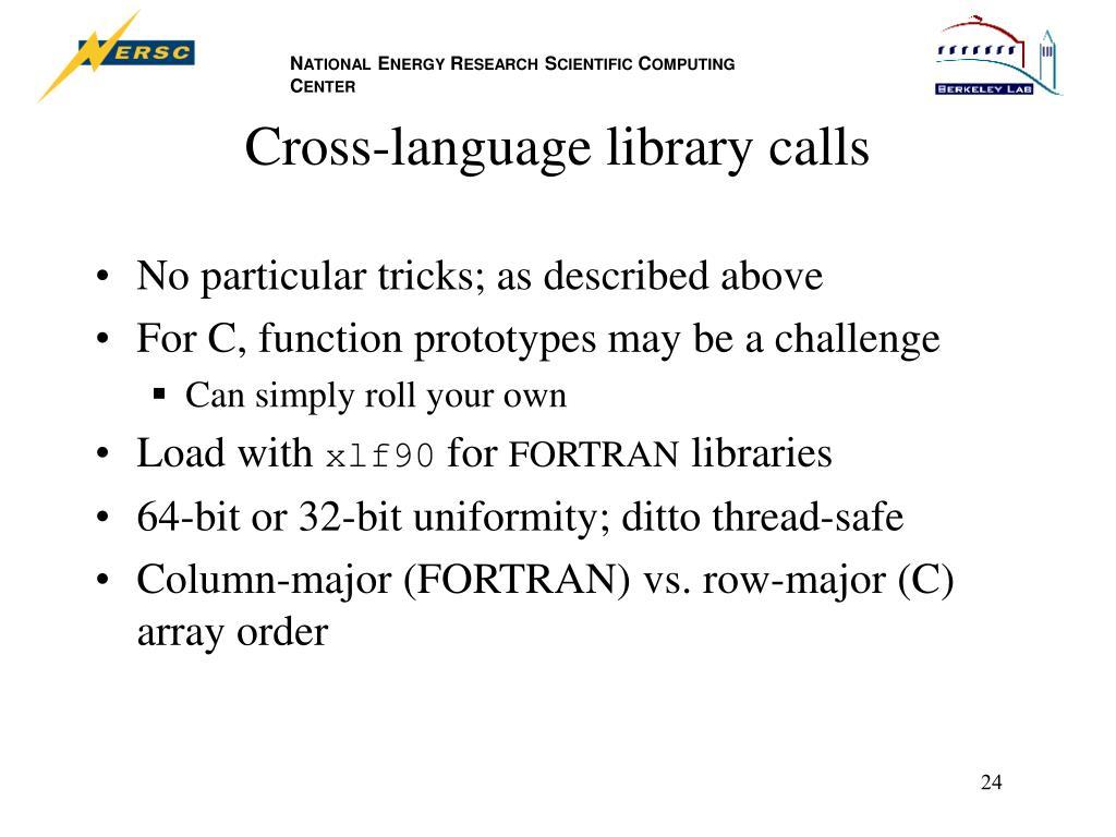 Cross-language library calls