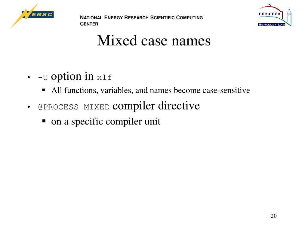 Mixed case names