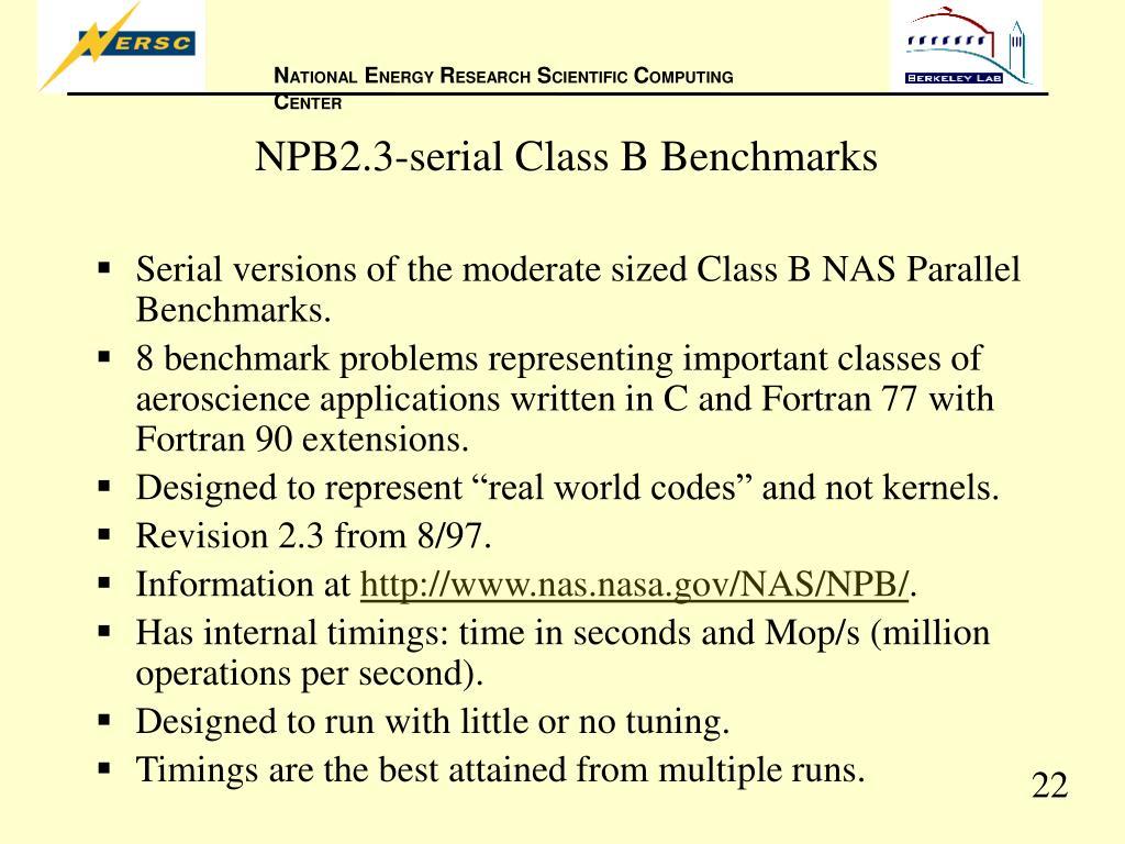 NPB2.3-serial Class B Benchmarks
